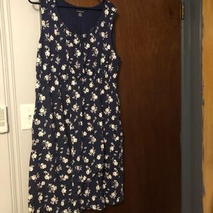 Cream floral navy sleeveless dress
